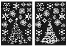 2 christmas trees and 36 snowflake window stickers reusable winter decorations - Christmas Window Decorations