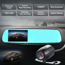 "4.3"" 1080P Dual Lens Car DVR Rearview Mirror + Camera Video Recorder Dash Cam"