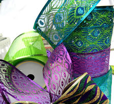 1m 65mm LUXURY SPARKLY,GLITTER WIRED RIBBON,CHRISTMAS,PEACOCK, GREEN & PURPLES
