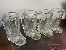 Set of 4 Vintage Anchor Hocking Cowboy Boot Shaped ~ Glass Beer Mug with Handle