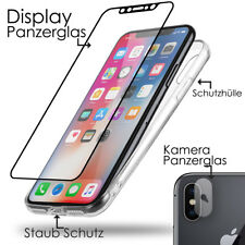 iPhone X 10 Panzerglas Crystal Transparent Handy Case Silikon Schutz Hülle Cover