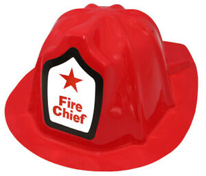 Childs Firefighter Chief Fighter Man Fireman Red Plastic Helmet Costume Hat