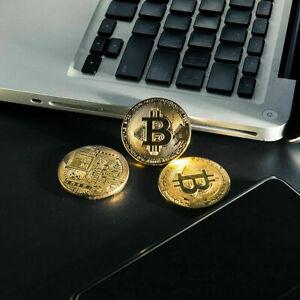Gold Plated Bitcoin Coin Collectible BTC Coin Art Collection Gift Physical  USA