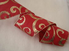 Christmas Ribbon, Red and Metallic Gold, 2 1/2 In Wide,Wired Edge, 5 YARDS