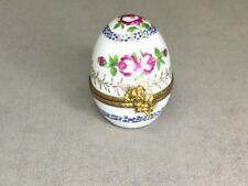 Original Limoges Egg Shaped Porcelain Trinket Box