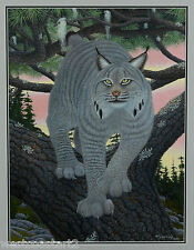 Mike Semkiw 1995 Original Painting Lynx Painting Listed Canadian Wildlife Artist