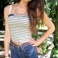 Gr.34/36 CROPPED-TOP CROP BLOGGER HIPSTER BANDEAU TOP zu Highwaist GRAU GOLD