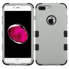 IPHONE 7 plus 8 plus rubberized GRAY 3 layer HYBRID case USA SELLER