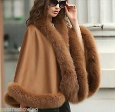 Elegant /Women's Real Cashmere Real Fox Fur Cloak poncho/Coat/Wraps/ A style