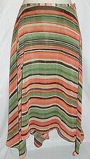 Kenar Skirt Handkerchief Asymmetrical Shark Bite Hem Striped size 10 Boho