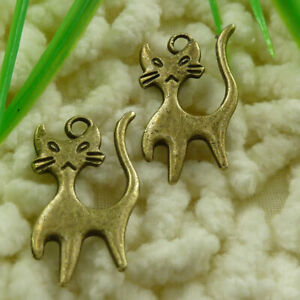 180 Pcs Bronze Plated Cat Charms Pendant 24X13MM S1375 DIY Jewelry Making