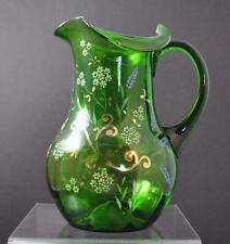 Vintage Hand Blown Green Art Glass Handled Pitcher Enameled Hand Painted Pontil