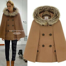 Vintage Style Fur Collar Double Breasted Cloak - Camel