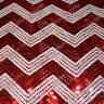 "Chevron Zigzag Sequin Fabric 55"" Width By The Yard White / Red"