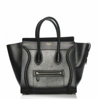 CELINE Astrakhan Black Leather Micro Luggage Tote Bag