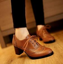 Womens Brogue Cuban Mid Heel Lace Up Fashion Retro Vintage Pumps Shoes brown US7