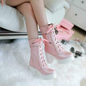 New Womens platform chunky heels mid calf boots lace up round toe shoes lolita