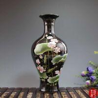 Chinese old porcelain Black glazed pastel and lotus flower vase
