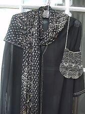 Vintage 1920s  beautiful Assuit Scarf Shawl  Black net silver metals no holes