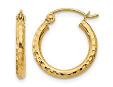 Pequeño Diamante Corte Aro Pendientes De Oro Amarillo 14K