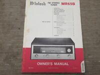 Mcintosh MR 65B Vintage FM stereo Tuner Original Owners manual some marking