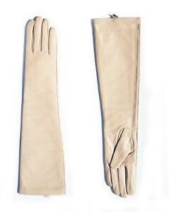 KIMOBAA women cute elegant real sheep leather plain elbow long gloves