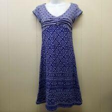 Athleta XS Blue Print Dress Burnout DHARA V Neck Athleisure Burnout