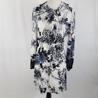 New Kobi Halperin dress medium blue white lace trim long sleeves career MSRP 149