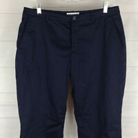 Coldwater Creek petite womens 12P stretch navy blue flat front straight pants