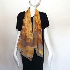 Joan and David large silk scarf wrap in autumn leaves colors.