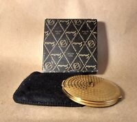 RARE Vintage Stratton Compact from the 1950's in Gold Tone with Box and Sheath
