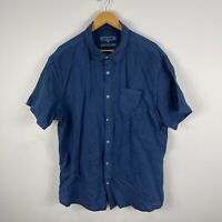 Just Jeans Mens Button Up Shirt 2XL Blue Short Sleeve Collared Linen Blend