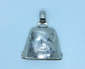 1918 STERLING SILVER COW BELL CHARM PENDANT FROM OLD BABY TEETHING RING