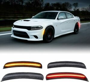 For 2015-2021 Dodge Charger Front & Rear LED Side Bumper Marker Smoked Lens LED
