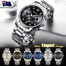 GIMTO Men's Luxury Watches Date Stainless Steel Waterproof Quartz Wrist Watch