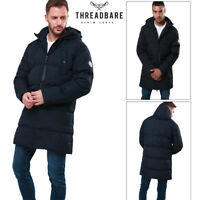 Threadbare Mens Tingley Padded Jacket Zip Up Hooded Quilted Long Puffer Coat