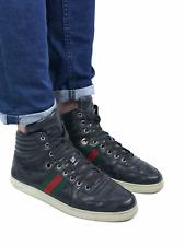 GUCCI men's black leather guccissima hi-top sneakers | Size 7/US 8.5 (10.6 inch)
