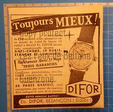 MONTRES DIFOR BESANCON DOUBS   publicité 1950