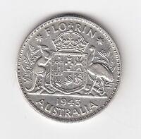 1943M KGVI AUSTRALIA FLORIN (92.5% SILVER) - VERY NICE VINTAGE COIN