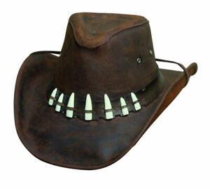 SPIFFY Crocodile Dundee Teeth Leather Western Cowboy Hat Bullhide MonteCarlo