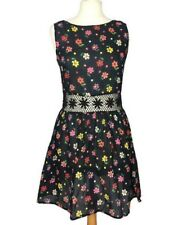 Topshop Black Cotton Floral Ditsy Crochet Holiday Skater Fit Flare Dress 10/12