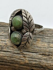 Vintage Mexico Sterling Silver & Green Turquoise Leaf Ring Sz 6.5