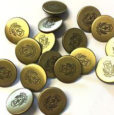 10 X 20 mm Bronce Escudo de Armas Blazer Botones De Metal Con Mango Trasero