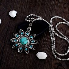 New Fashion Bohemian Vintage Jewelry Turquoise Crystal Flower Pendant Necklace