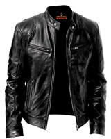 Mens Leather Jacket Real Genuine Cowhide Leather Winter Stylish Biker Coat Black