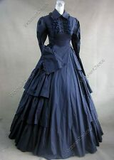 Victorian Gothic Navy Dress Steampunk Penny Dreadful Theater Costume 007 Xxl
