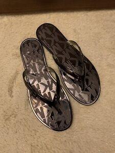 NIB - $79 Women's Michael Kors Emory Flip Flop Metallic PVC - Size 8