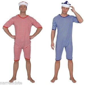 Badeanzug blau weiß gestreift Ringel Retro Beach Party Strand Bade Anzug Kostüm