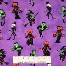 Halloween Fabric - Ghosts & Ghouls Monsters Purple - Windham Cotton YARD