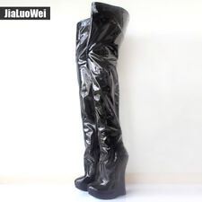 "Women's Boots 7"" High Wedge Heel Platform Sexy Over-the-Knee Thigh Hi Boots"